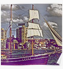 The old tall ship and modern people.. Poster