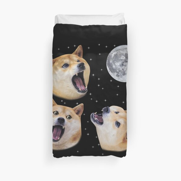 Three Doge Night Howling at the Moon Duvet Cover