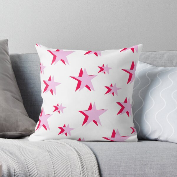 pink and red vsco star pattern Throw Pillow