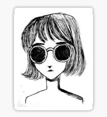 Retro Black and White Sunglasses Girl Sticker