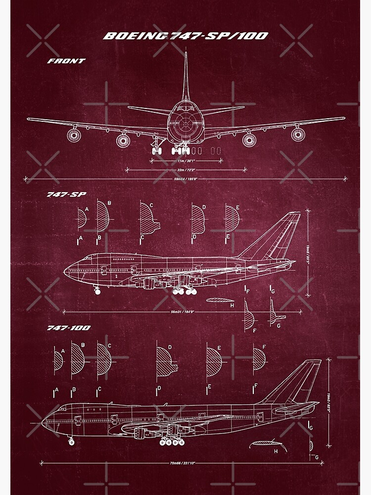 Boeing 747-SP & 747-100 Concept Drawing Blueprint by RHorowitz
