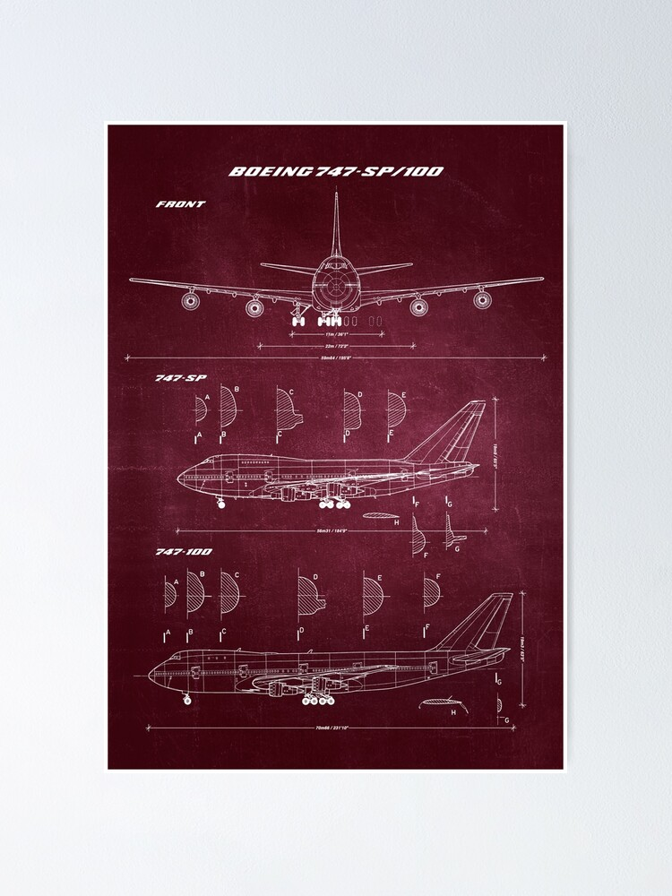 Alternate view of Boeing 747-SP & 747-100 Concept Drawing Blueprint Poster