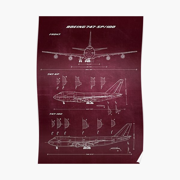 Boeing 747-SP & 747-100 Concept Drawing Blueprint Poster