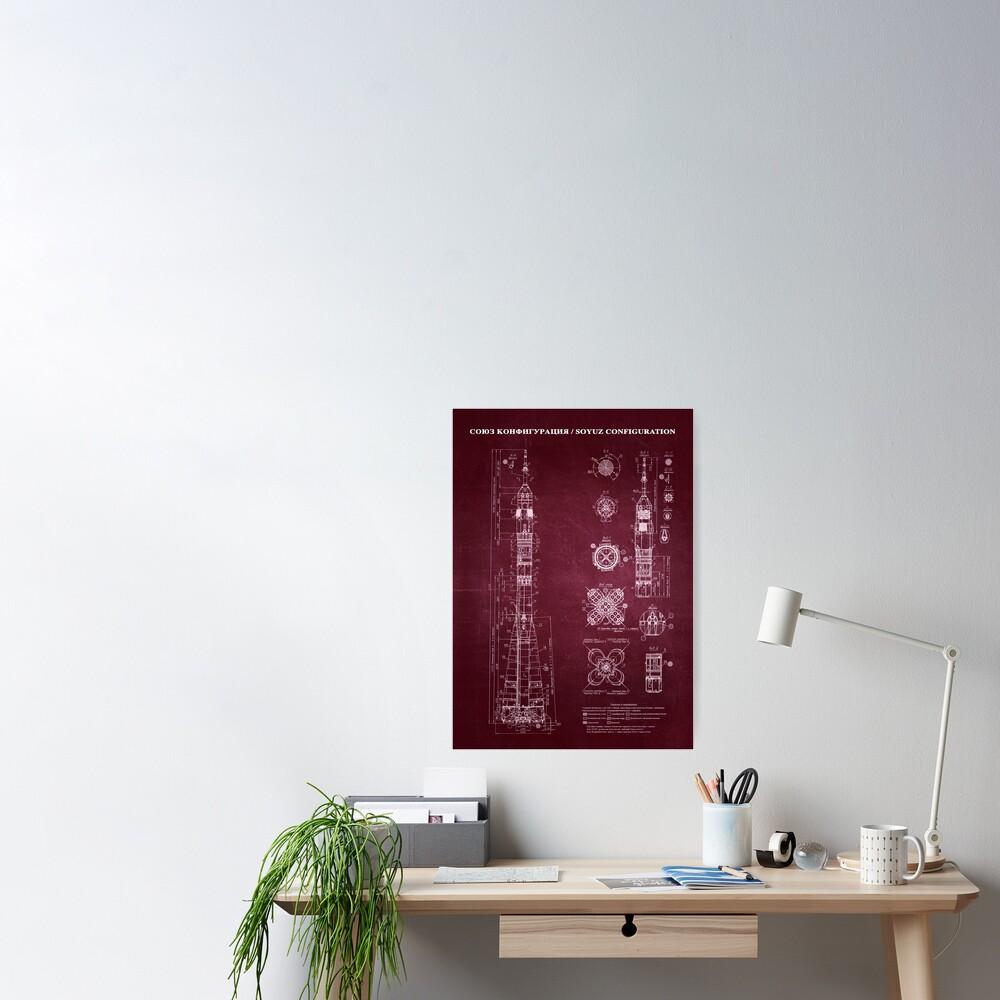 Soyuz Blueprint in High Resolution (red) Poster