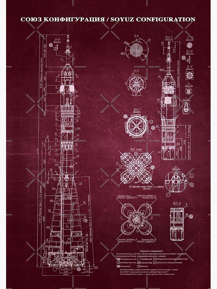 Soyuz Blueprint in High Resolution (red) by RHorowitz