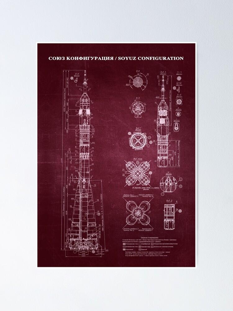 Alternate view of Soyuz Blueprint in High Resolution (red) Poster