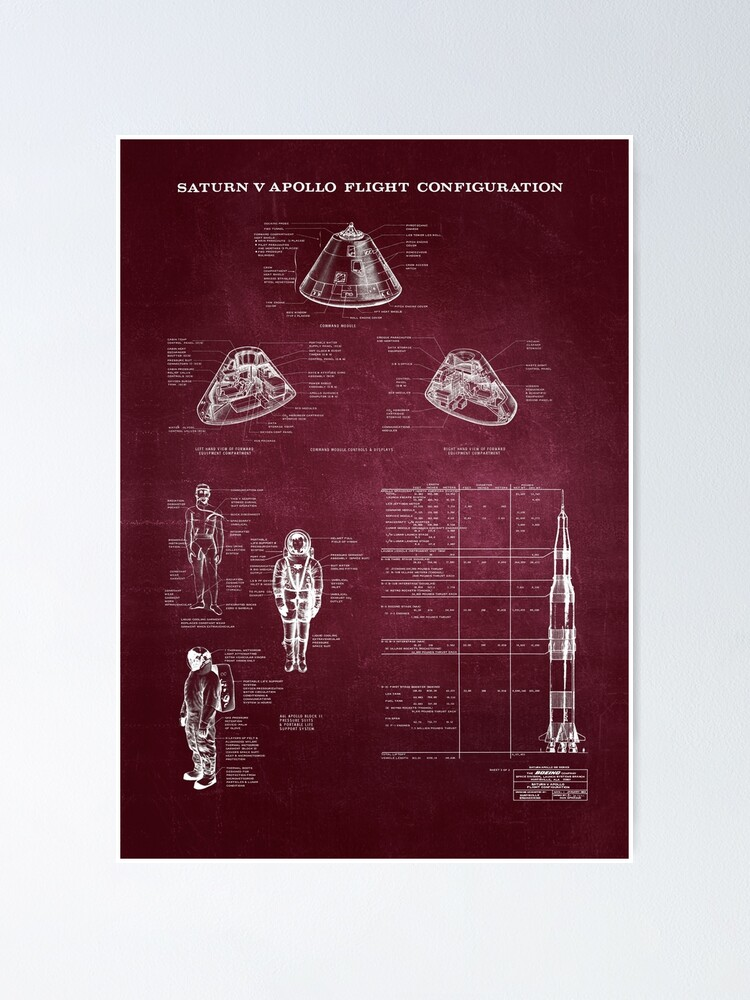 Alternate view of Apollo Saturn V Command Module Blueprint in High Resolution (red) Poster