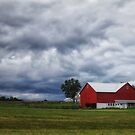 Stormy Skies and Red Barn by KellyHeaton
