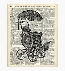 Antique Baby Pram over  100  Years Old English Dictionary Page Photographic Print