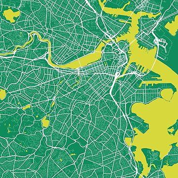 Boston Map Green by duzhd