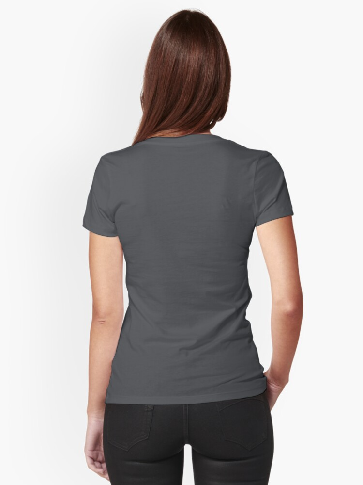 Alternate view of Stegosaurus Lace - Black / Grey Fitted V-Neck T-Shirt