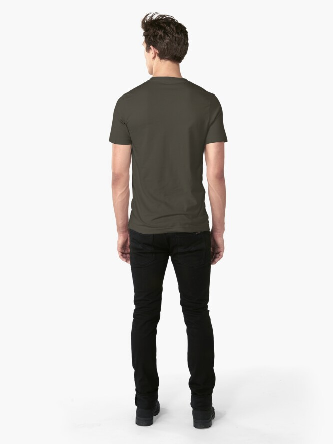 Alternate view of Butt of Superhero Villian - on Dark Slim Fit T-Shirt