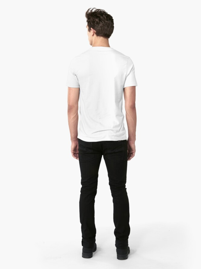 Alternate view of Descent of Chicken (White) Slim Fit T-Shirt